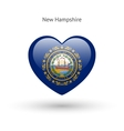 Love New Hampshire state symbol Heart flag icon vector image vector image