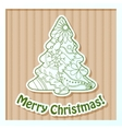 Merry Christmas card on cardboard with tree vector image vector image