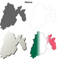 Mexico state blank outline map set vector image vector image