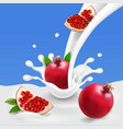 milk or yogurt splash with pomegranate vector image vector image