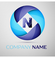 N letter colorful logo in the circle template for vector image