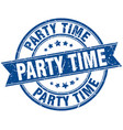 party time round grunge ribbon stamp vector image vector image