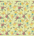 pattern seamless kids with teenager doodle vector image