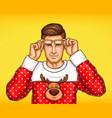 pop art man in christmas deer print sweater vector image vector image
