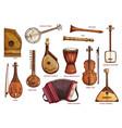 retro musical instruments set realistic design vector image