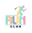 run club logo emblem with abstract running man vector image vector image