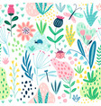 seamless flourish pattern with field flowers vector image vector image