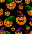 seamless pattern halloween pumpkin with hat vector image vector image