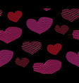 seamless pattern of pink and red hearts vector image vector image