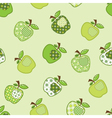 Seamless pattern with green patchwork apples vector image vector image