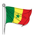 senegal flag one continuous line abstract icon vector image