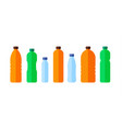 set color bottles water icon flat vector image