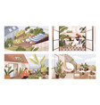 set gardens at terraces balconies and roofs vector image