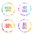 set of round colored banner vector image