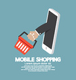 Shopping Basket Flying Out Mobile Phone vector image vector image