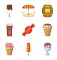 sugar-candy icons set cartoon style vector image vector image