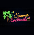 summer cocktails glowing neon sign vector image vector image