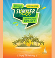 summer sale poster with tropical island view vector image