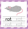 tracing worksheet with word rat learning material vector image vector image
