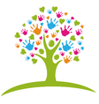 Tree with hands and hearts vector