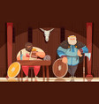 viking meal cartoon composition vector image