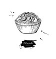 wasabi sauce in bowl drawing hand drawn vector image