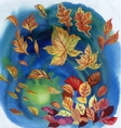 Watercolor background with autumn leaves vector image vector image