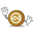 waving nxt coin character cartoon vector image vector image
