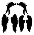wings ssilhouettes drawing black white set 6 vector image vector image