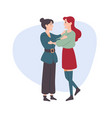 woman hugs a woman female friends sisters vector image vector image