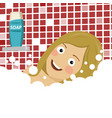 young woman enjoying pleasant bath with foam vector image