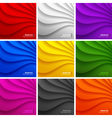 Set of 9 Colorful Wavy backgrounds vector image