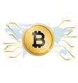 golden bitcoin conceptual background map im vector image