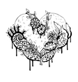 Abstract black and white heart vector image vector image
