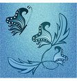 Abstract butterfly on denim texture vector image vector image