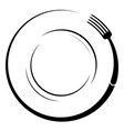 abstract logo of a cafe or restaurant a fork on a vector image vector image