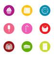 appetizing icons set flat style vector image