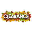 autumn clearance banner with leaves vector image vector image