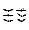 bats icon set bat black silhouette with wings vector image vector image