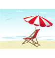 beach chairs and umbrella vector image vector image