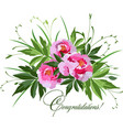 bouquet of pink peonies on white vector image vector image