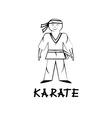 cartoon karate young man vector image vector image