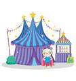 circus big top and panda hero costume vector image