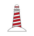 color silhouette image red striped lighthouse on vector image