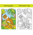 coloring and color tiger vector image vector image