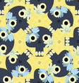 Cute seamless pattern with funny skulls vector image