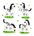 cute zebra - flat design style set cartoon vector image