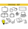 Doodle set of elements an interior handmade Sketch vector image
