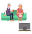 elderly people watching tv vector image vector image
