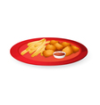 fingerchips and bread cubes vector image vector image